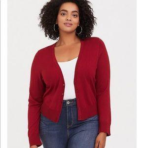 Torrid Dark Red Crop Cardigan, Torrid Size 2